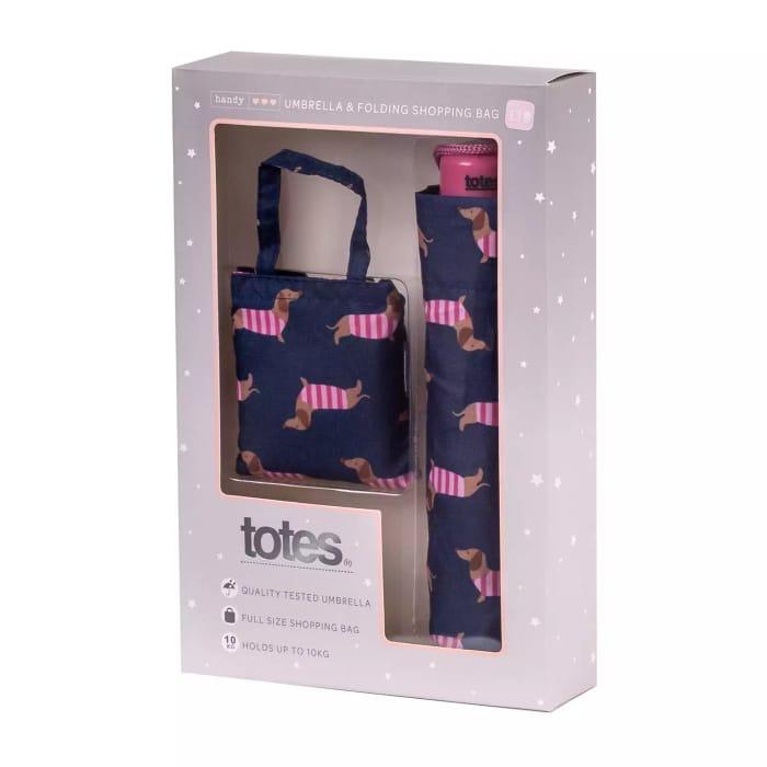 Totes - Navy Blue Sausage Dog Print Umbrella and Shopper Bag Gift Set