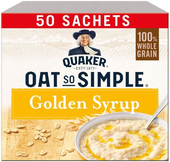 Prime Only! Quaker Oat so Simple Golden Syrup Porridge Sachets, 50 X 36 G