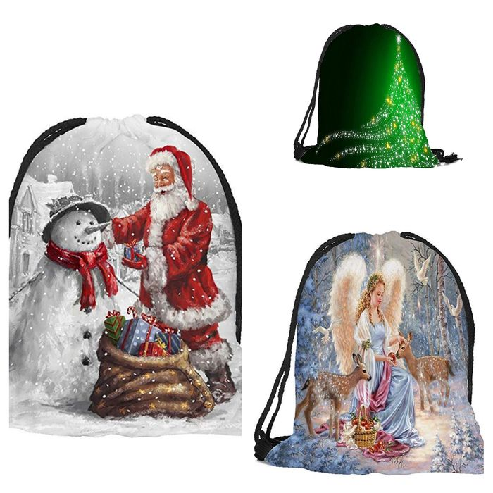 Christmas Drawstring Bag Backpack with Father Christmas Santa and Snowman