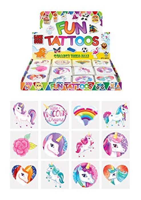 Kids Unicorn Temporary Tattoos - Pack of 12 62p plus Free Delivery