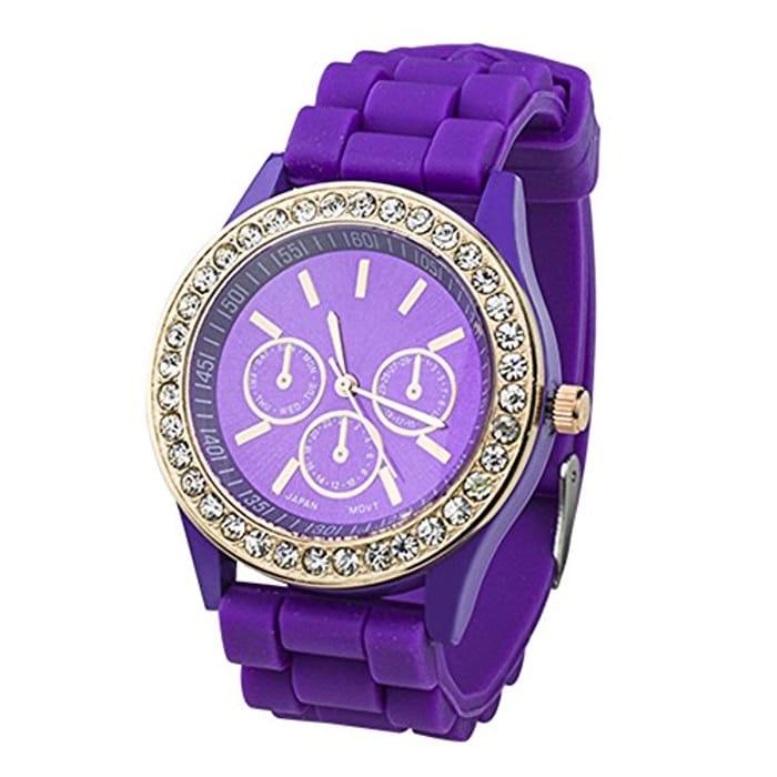 Ladies Fashion Crystal Rhinestone Silicone Watch