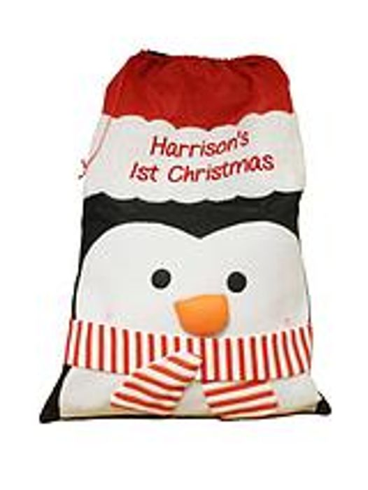 Personalised Red Plush Christmas Sack with Metallic Gold Name
