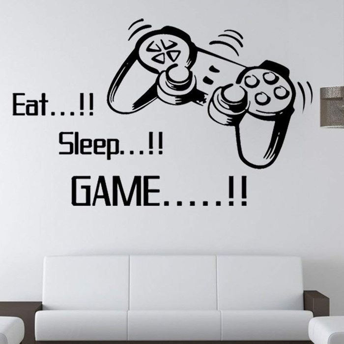 'Eat Sleep Game' Wall Vinyl Art Decal (99p delivery)