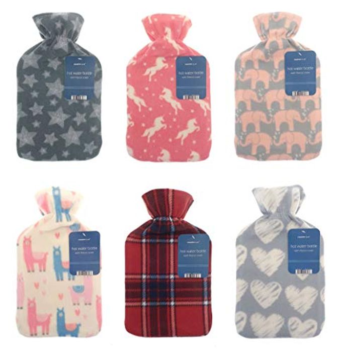 Hot Water Bottle with Soft Fleece Cover - Random Design - FREE DELIVERY