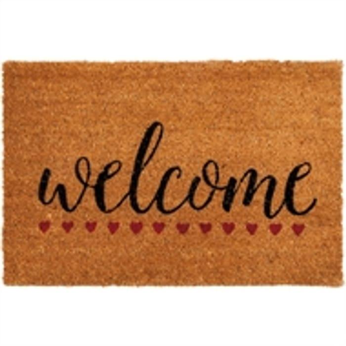 Welcome Hearts PVC Coir Doormat
