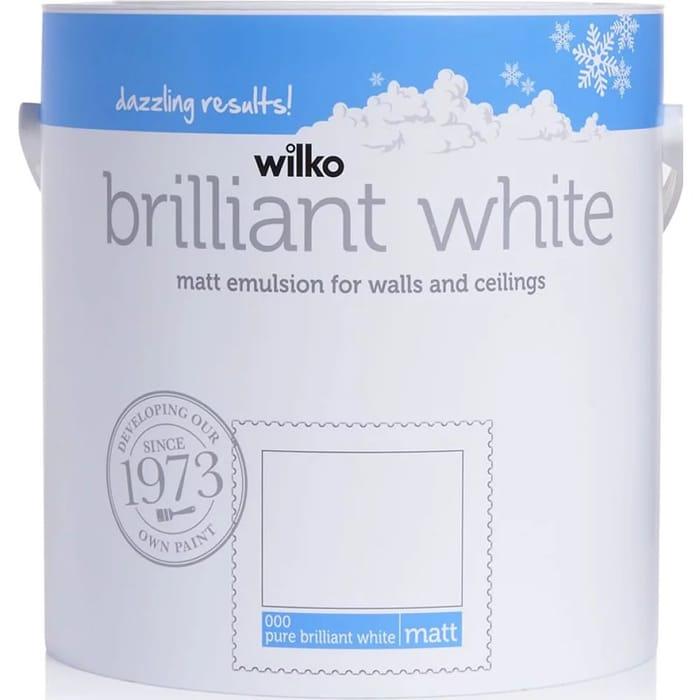 Wilko Pure Brilliant White Matt or Silk Emulsion Paint 2.5 L