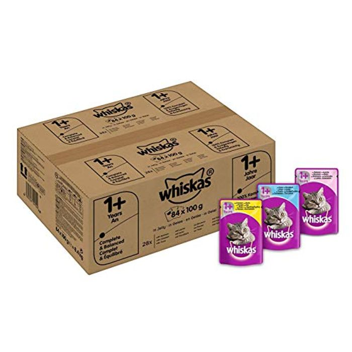 Whiskas 1+ Cat Food, Mixed Selection in Jelly (84 PACK) save £4 & FREE DELIVERY