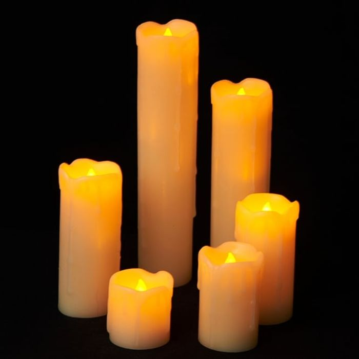 Set of 6 LED Candles with Melting Wax Effect
