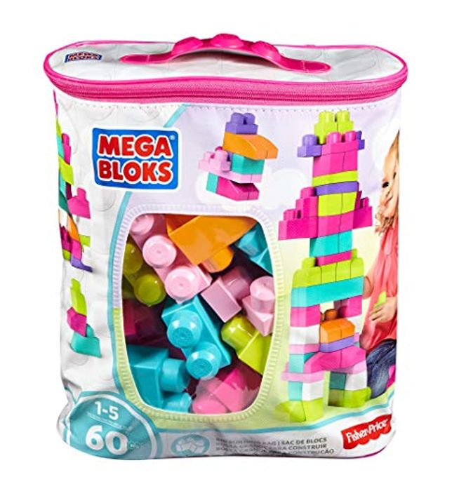 Mega Bloks Big Building Bag, Pink, 60 Pieces