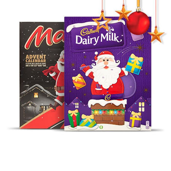 Dairy Milk, Galaxy, Mars Malteasers Advent Calendars - Half Price £1.00