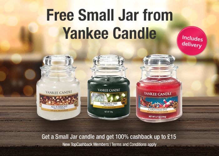 Free Christmas Small Jar Yankee Candle up to £15 after Cashback