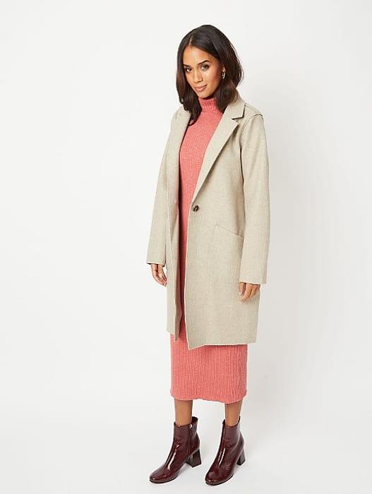 Beige Unlined Longline Oversized Coat