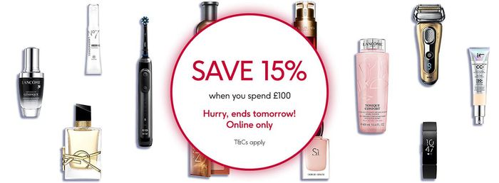 15% off When You Spend £100+ at Boots