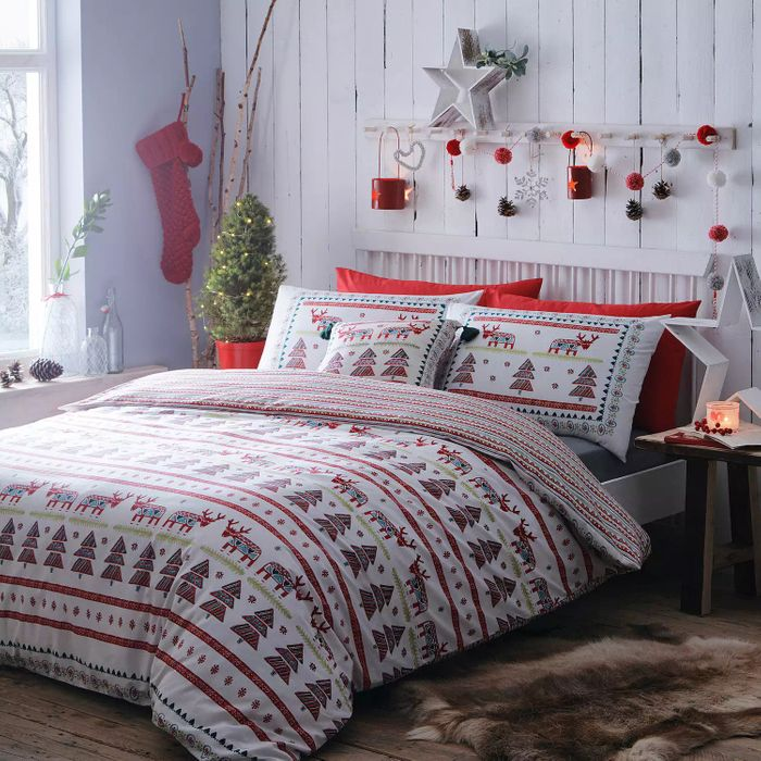 Multicoloured 'Christmas Scene' Printed Duvet Set Now £18.00
