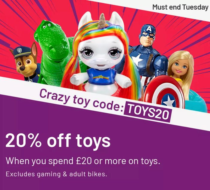 ARGOS 20% off £20 and More on Toys with Discount Code!