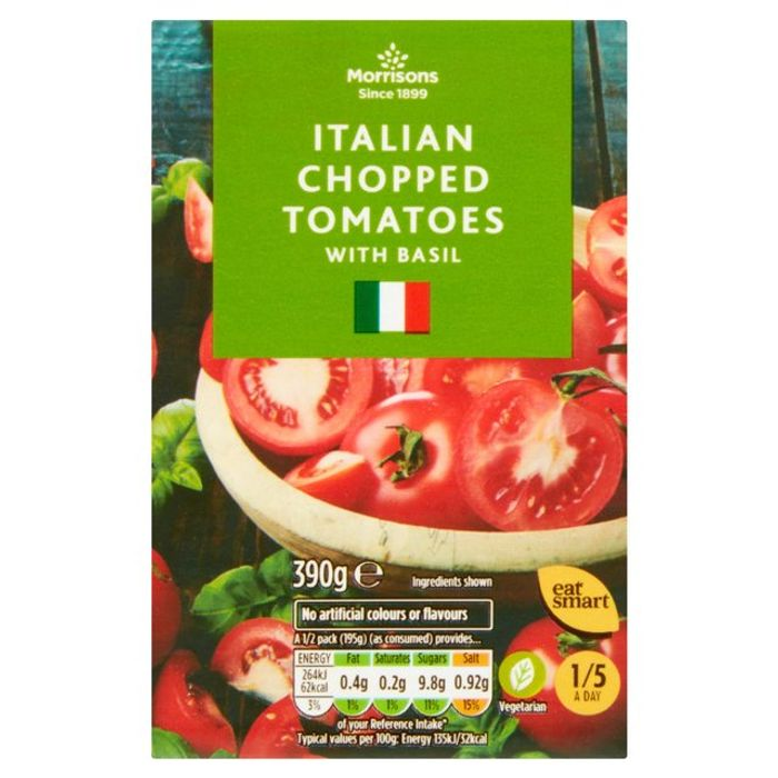 Cheap Morrisons Italian Chopped Tomatoes with Basil 390g, Only £0.35!