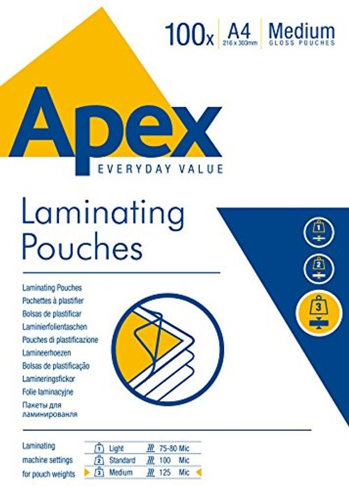 Apex (A4) 125 Micron Laminating Pouches - 100 Pack