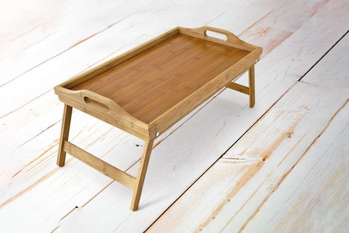 Lightweight Wooden Bamboo Serving Tray with Folding Legs