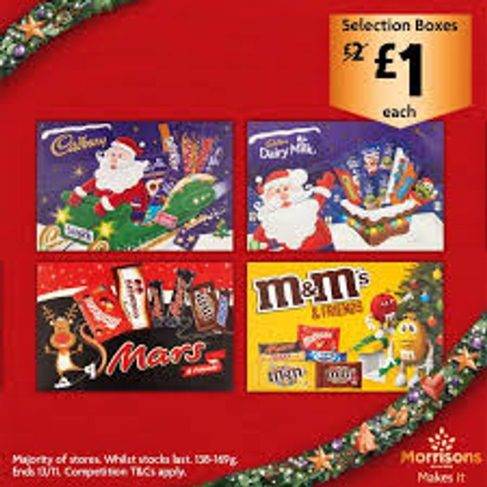 Cadburys, Mars, M&M Selection Boxes Half Price