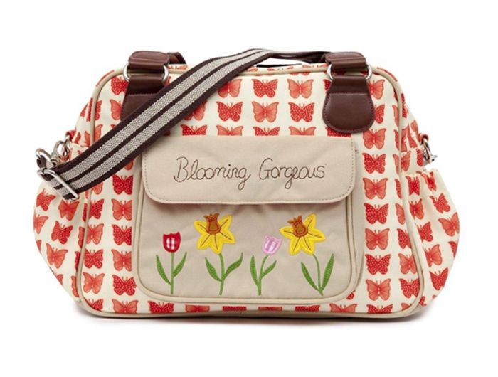 Pink Lining Blooming Gorgeous Changing Bag - Red Butterflies