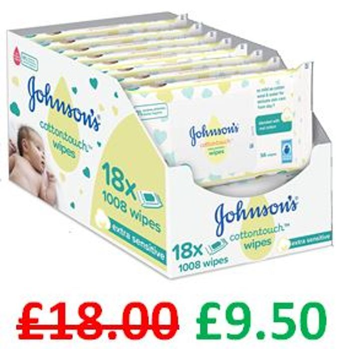 ALMOST HALF PRICE! JOHNSON'S Cottontouch Extra Sensitive Wipes 1008 Wipes