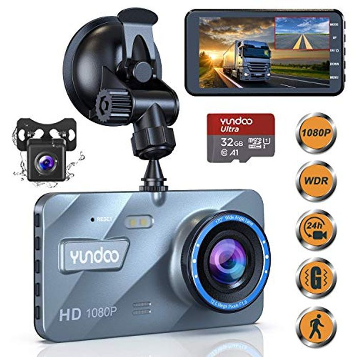 50% off YUNDOO Dash Cam Front and Rear 1080P Full HD