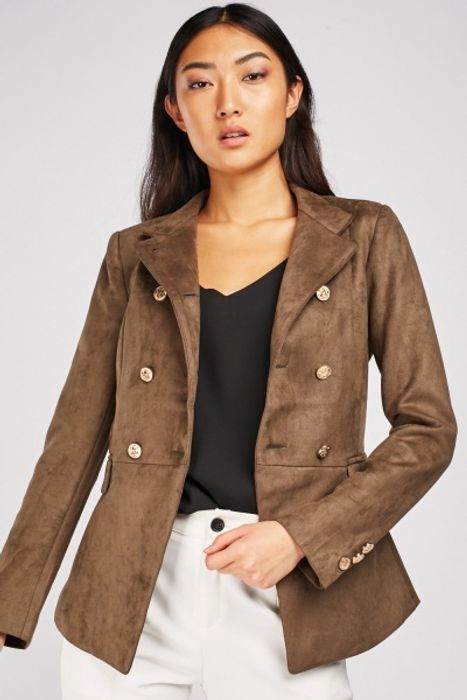 Faux Suede Military Jacket