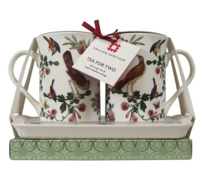 English Two Decorated Ceramic Mugs, Melamine Tray & English Breakfast Teabags