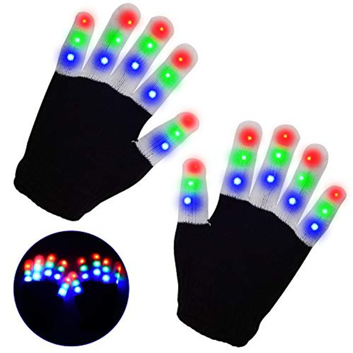 LED Gloves, Light up Hand Gloves, Flashing Fingers Colourful