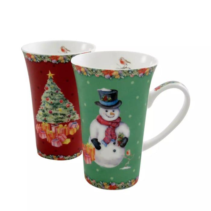Ainsley China 2 Xmas Latte Mugs