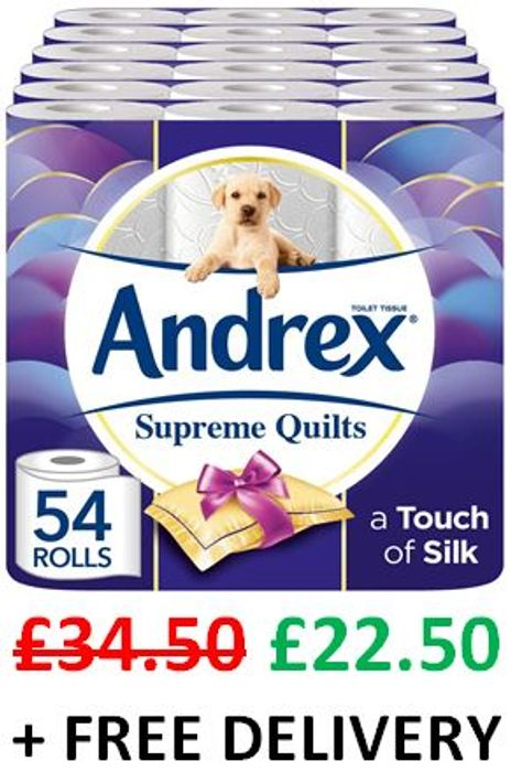 SAVE £12! Andrex Supreme Quilts 54 Toilet Rolls