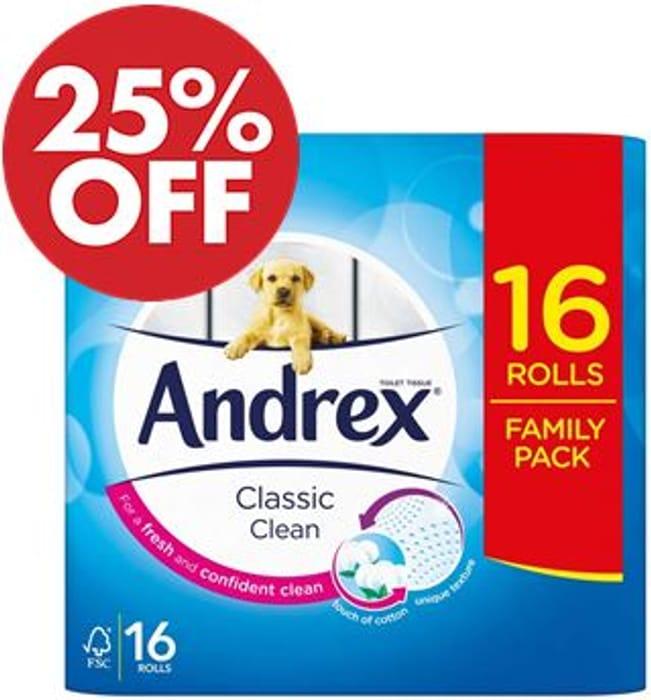 16 Andrex Classic Clean Toilet Rolls (Amazon Pantry)