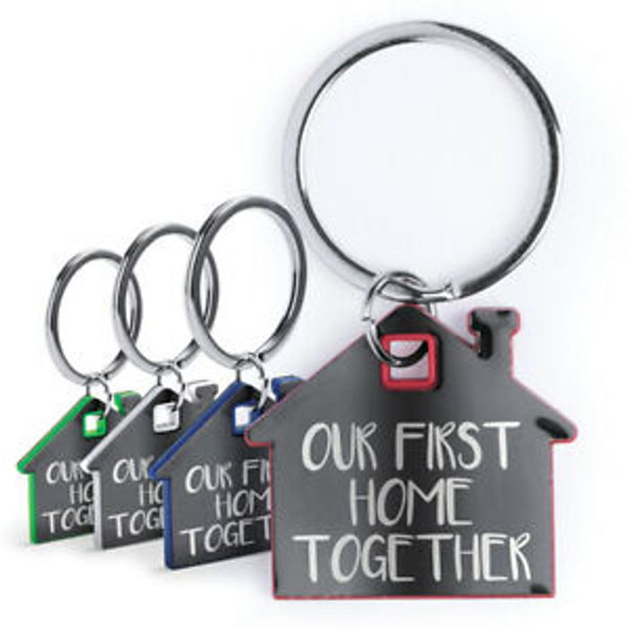 Cheap 'Our First Home Together' Metal House Shaped Keyring - Only £2.99!