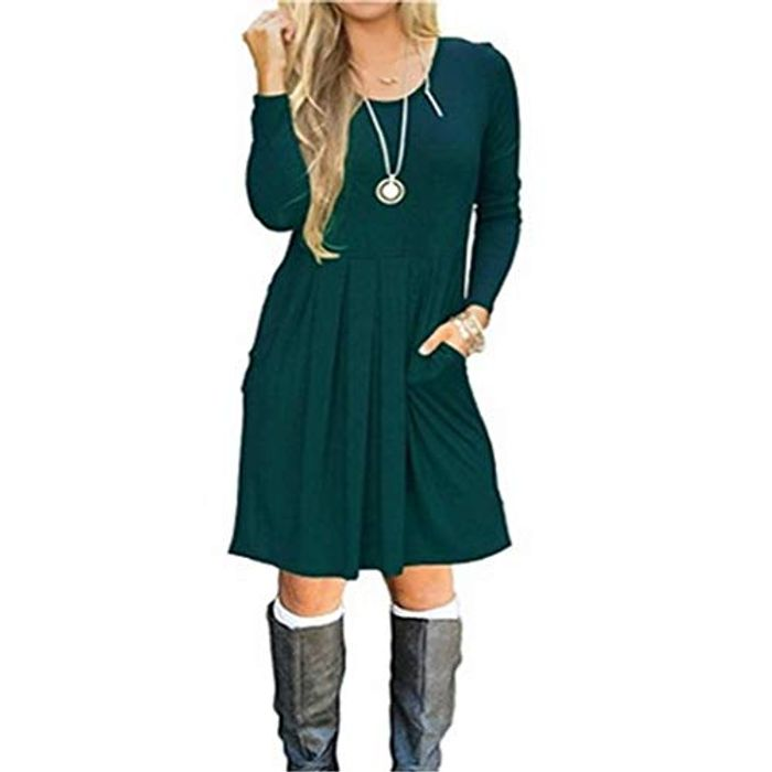 Dieron Women Casual Solid Color O Neck Long Sleeve Dress Dresses Dark Green