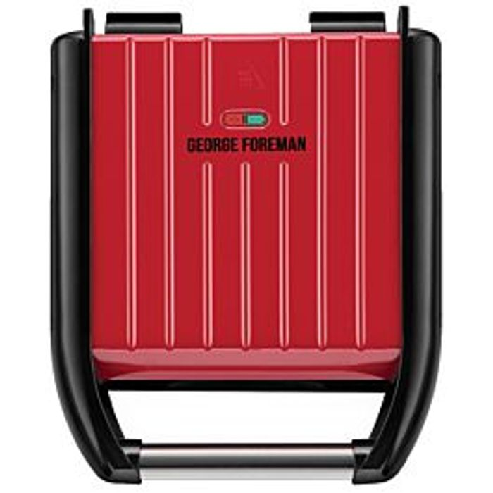 Cheap George Foreman Compact 3 Portion Steel Grill (Red), reduced by £26!