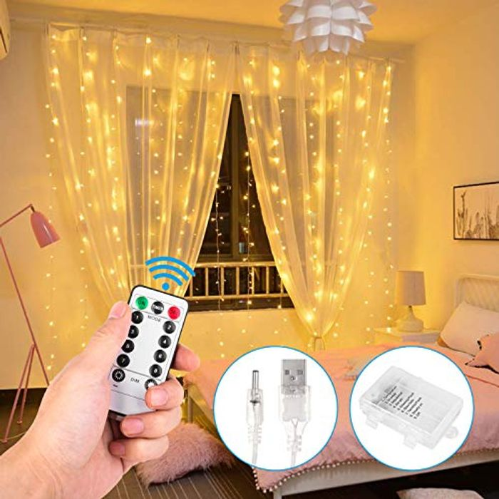 Lightning Deal Fairy Curtain String Lights - 3m X 3m USB Operated