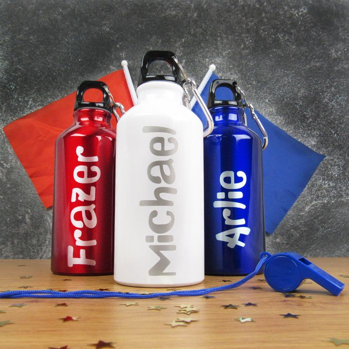 PERSONALISED Boys Reusable 400ml Metal Sports Water Bottle - FREE DELIVERY!