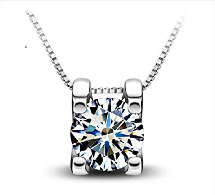925 Sterling Silver Square Pendant with Cubic Zirconia