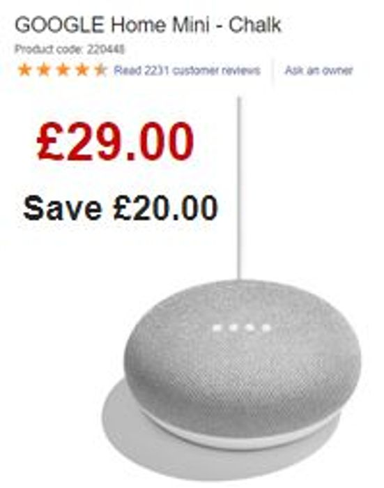 £20 off - GOOGLE Home Mini - Chalk