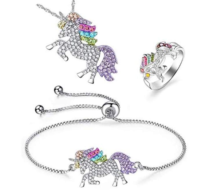 Unicorn Bracelet Ring and Necklace