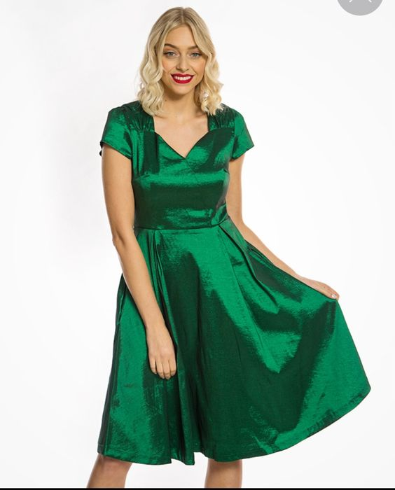 'Celestine' Shamrock Taffeta Swing Dress HALF PRICE