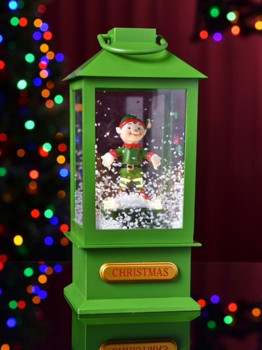 Green Elf Lantern with LEDs and Music