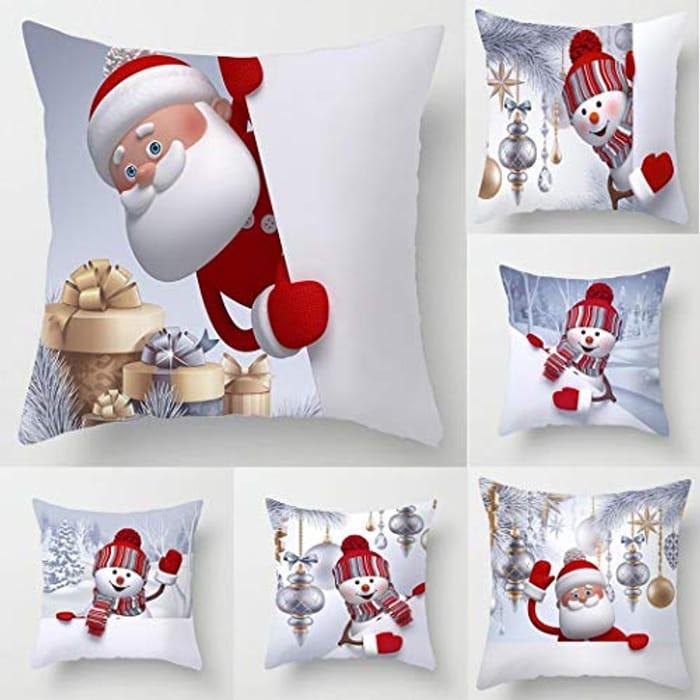 Cartoon Velvet Santa/Snowman Cushion Covers