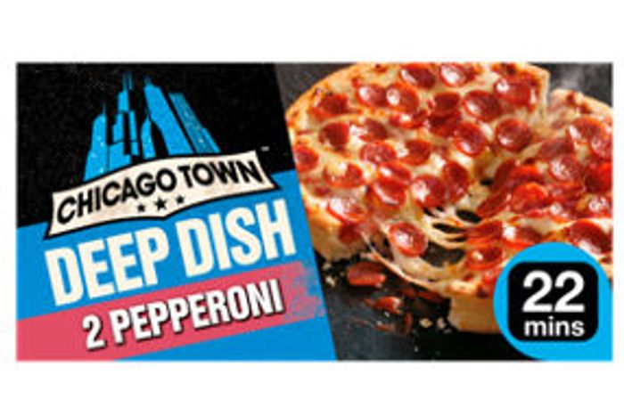 Chicago Town 2 Deep Dish Pepperoni Pizzas 2x160g - Save £0.25!