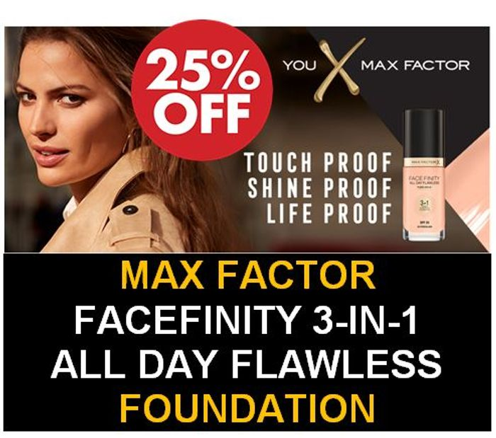 25% off TODAY - Max Factor Facefinity 3-in-1 All Day Flawless Foundation