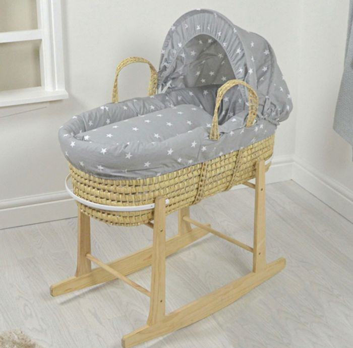 4baby Deluxe Palm Moses Basket & Rocking Stand - Grey / White Stars