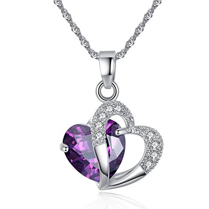 Cheap Sterling Silver Amethyst Purple Heart Crystal Pendant Necklace Only £0.66!