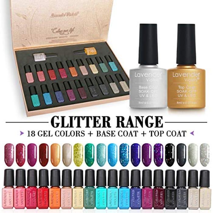 20pcs Glitter Gel Nail Polish Gift Set 18 Colour Base N No Wipe Top Coat Nail