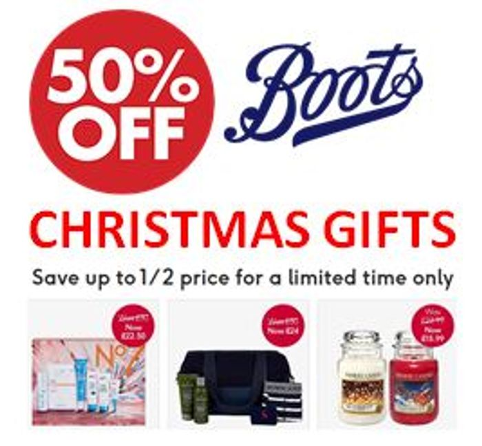 BOOTS CHRISTMAS DEALS! save up to 50% on Christmas Gifts