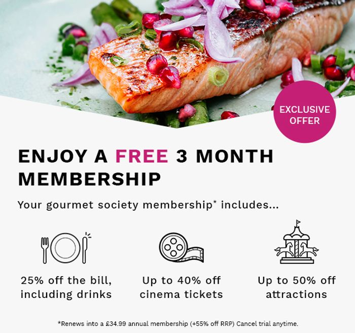 Free Gourmet Society 3 Month Membership.